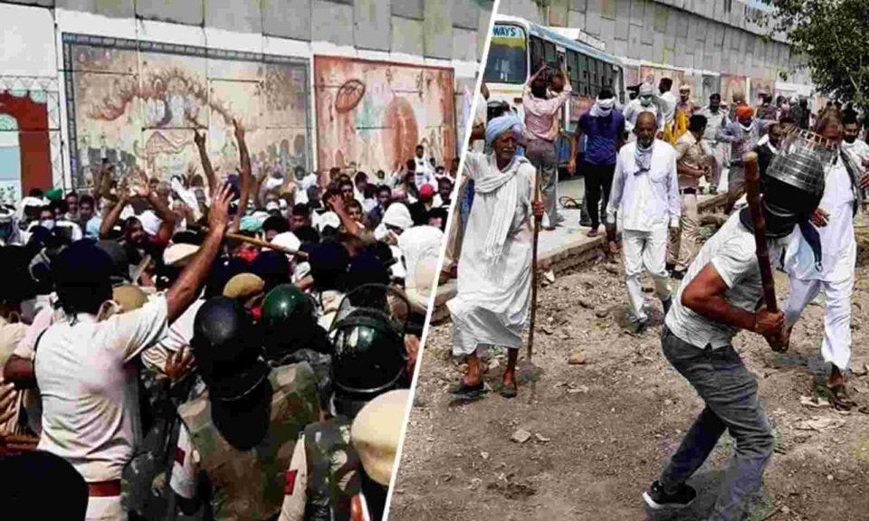 Haryana farmers face police lathi charge