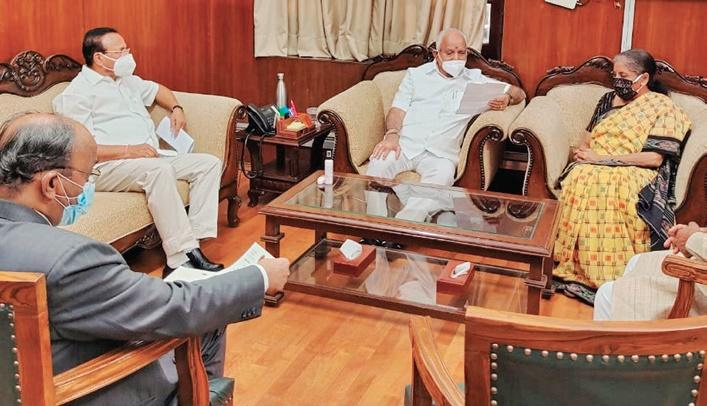 Karnataka Chief Minister BS Yeddyurappa met Union Finance Minister Nirmala Sitharaman